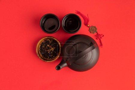 Oriental decoration and tea set