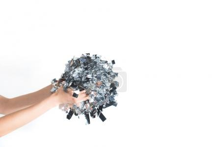 Photo for Cropped image of woman holding silver confetti in hands isolated on white - Royalty Free Image