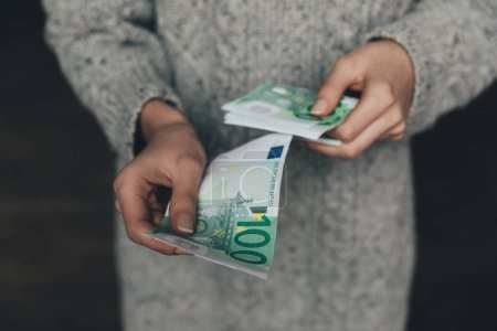 woman with euro banknotes