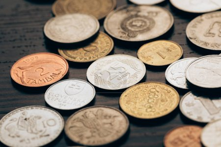 collection of coins on table
