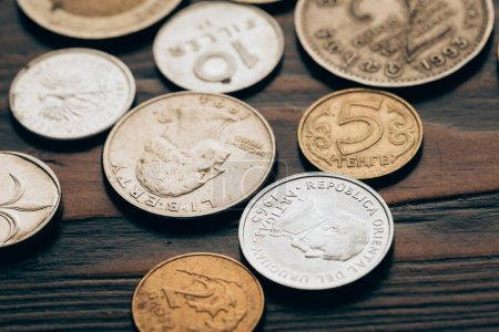 close up of collection of coins