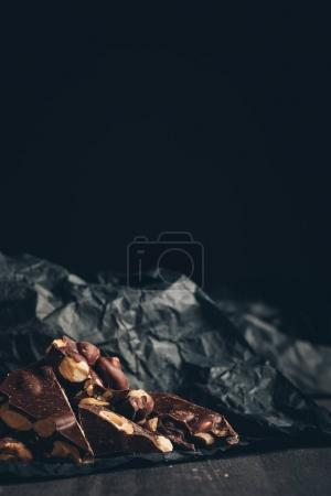 Chocolate on crumpled paper