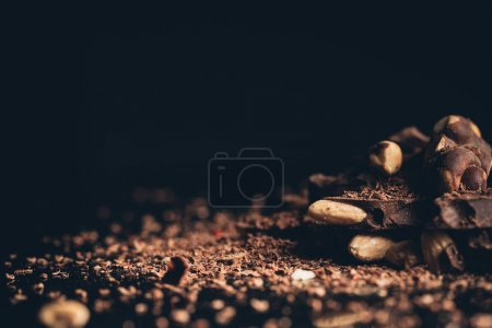 Pile of chocolate with nuts pieces
