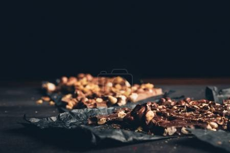 Dark and milk chocolate with nuts