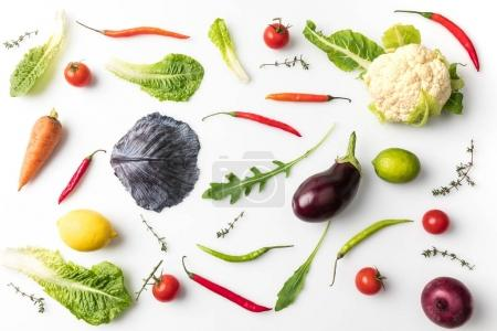 Photo for Top view of different vegetables isolated on white - Royalty Free Image