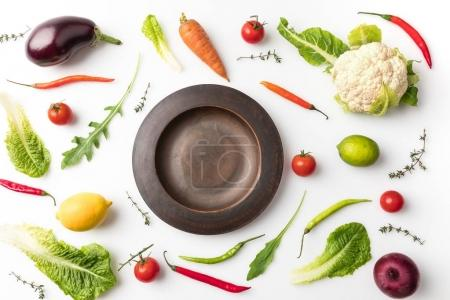 plate among uncooked vegetables
