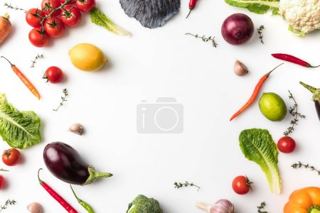 Photo for Top view of circle of different vegetables isolated on white - Royalty Free Image