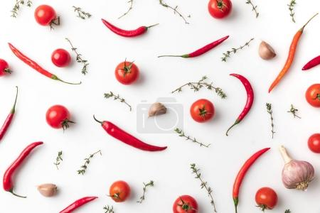 Photo for Top view of chili peppers and tomatoes isolated on white - Royalty Free Image