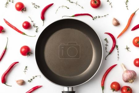 pan among chili peppers and tomatoes