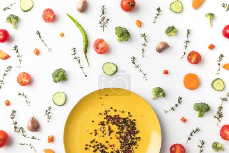 yellow plate with pepper