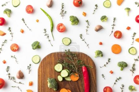 wooden board with vegetables
