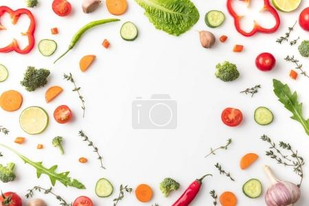 Photo for Top view of circle of cut vegetables isolated on white - Royalty Free Image