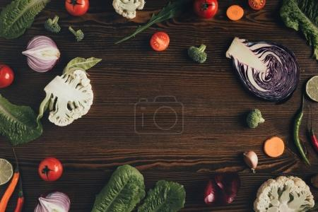 vegetables on brown table