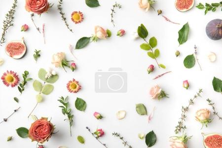 Photo for Pink flowers, petals and figs isolated on white - Royalty Free Image