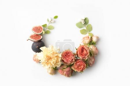 Photo for Pink flower wreath with leaves, buds, figs and petals isolated on white - Royalty Free Image