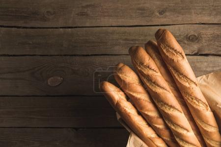 fresh baguettes in box