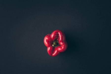 top view of red bell pepper on gray table