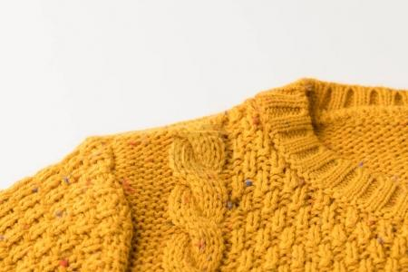 knitted yellow sweater with pattern