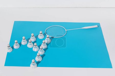 composition with white badminton racket and shuttlecocks on blue paper