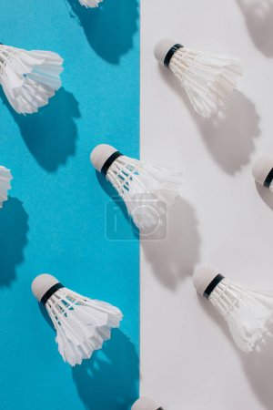 top view of badminton shuttlecocks on blue and white