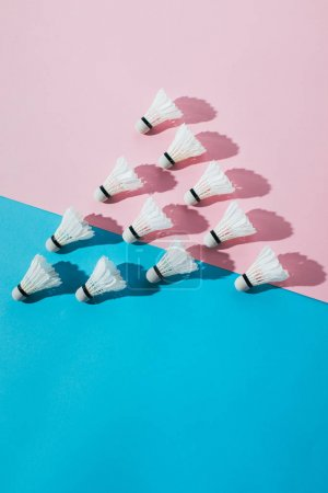 top view of composition with badminton shuttlecocks on blue and pink