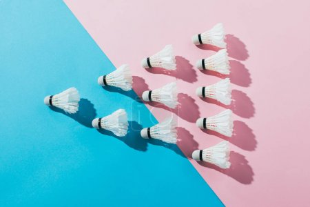 Photo for Top view of composition with badminton shuttlecocks on blue and pink - Royalty Free Image