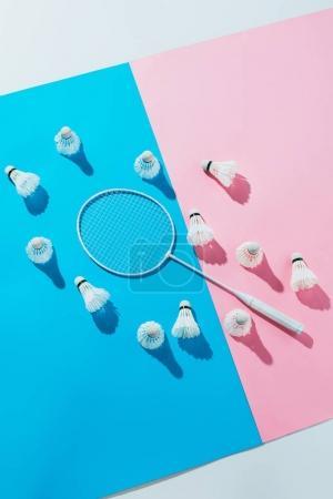 Foto de Vista superior de volantes alrededor de raqueta de badminton en los papeles de azules y rosas - Imagen libre de derechos