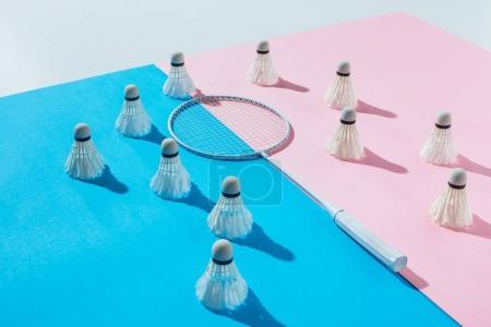 Foto de Volantes alrededor de la raqueta de bádminton en los papeles de azules y rosas - Imagen libre de derechos
