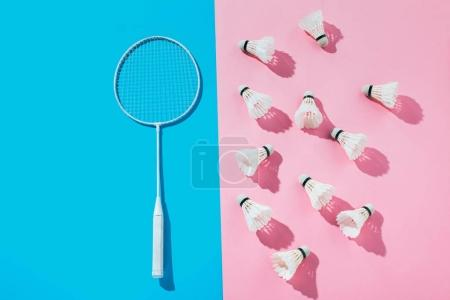 top view of badminton racket on blue and shuttlecocks on pink