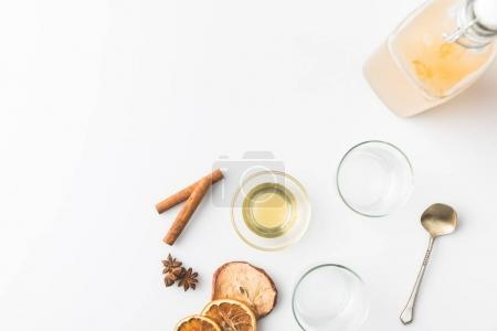 apple cider with spices composition isolated on white