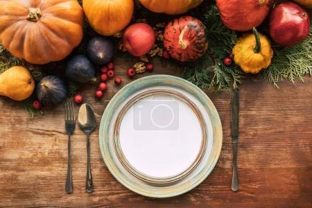 Photo for Top view of autumn  table setting with beautiful various fruits and vegetables - Royalty Free Image