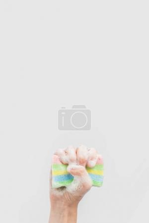Photo for Cropped view of hand holding washing sponge with foam, isolated on white - Royalty Free Image