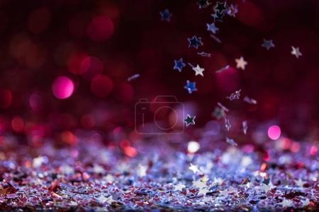 Photo pour Fond de Noël avec falling stars confettis brillant rose et argent - image libre de droit