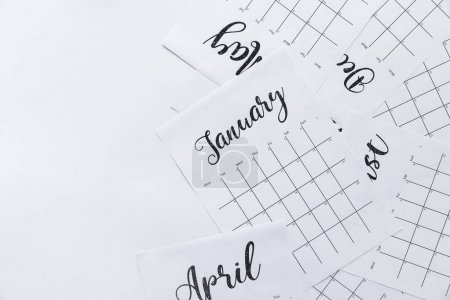 top view of paper calendar parts isolated on white