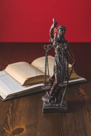 opened juridical books with lady justice statue on wooden table, law concept
