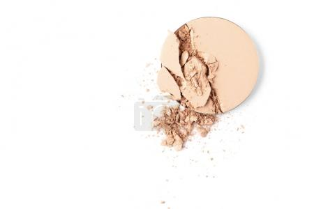 top view of cosmetic powder isolated on white