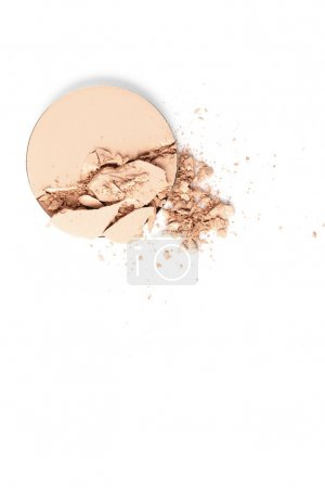top view of crushed cosmetic powder isolated on white