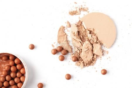various types of cosmetic powder isolated on white