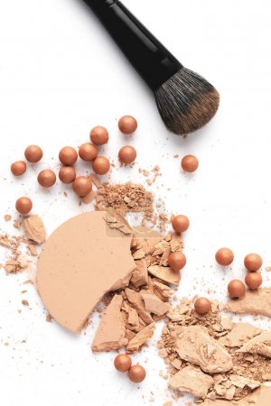 cosmetic powder with brush isolated on white