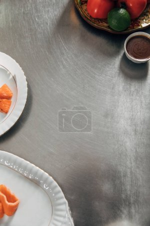 top view of table with ingredients at restaurant kitchen