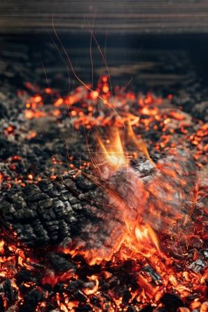 close-up shot of log burning in bonfire
