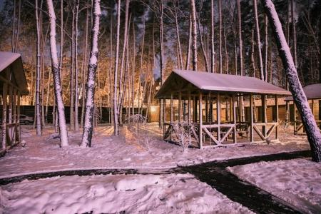 territory of wooden cottage in snowy forest in evening
