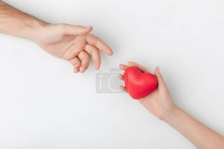 cropped view of hands with red heart isolated on white background