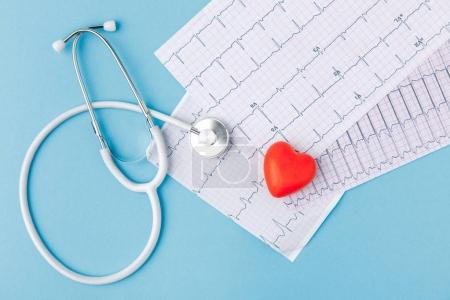 Photo for Stethoscope, cardiogram and red heart isolated  on blue background - Royalty Free Image