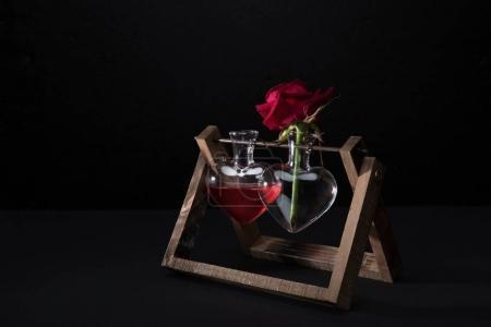 Photo pour Rose rouge en forme de coeur vase et vase avec élixir d'amour isolé sur noir - image libre de droit
