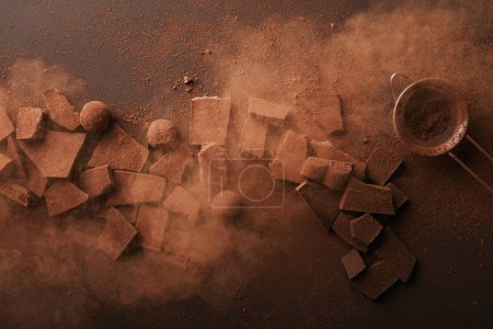 Photo for Top view of arrangement of various types of chocolate, truffles and sieve with cocoa powder - Royalty Free Image