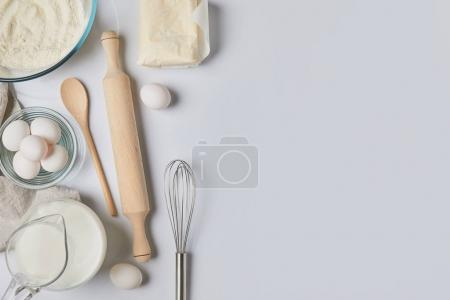 top view of ingredients for dough on table