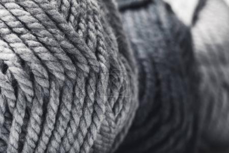 close up view of grey yarn balls