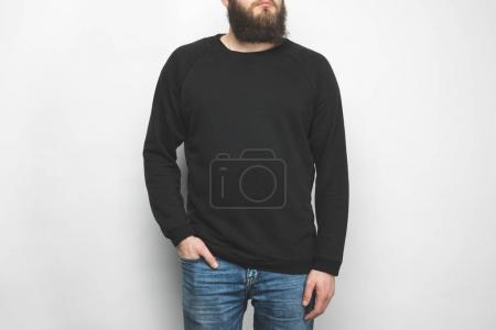Photo for Cropped shot of bearded man in black  isolated on white - Royalty Free Image