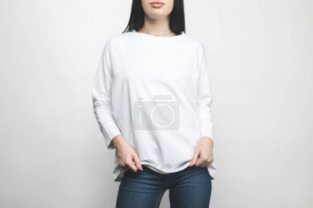 cropped shot of young woman in blank sweatshirt on white